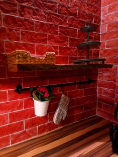 view of the kitchen _ favorite red brick _ favorite flower energy_ <3