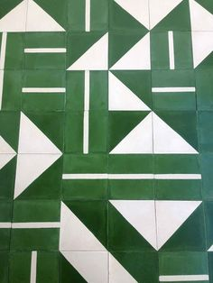 Obsessed with this green and white tile!