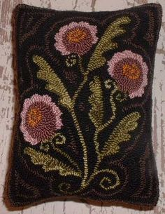 Primitive Needle Punch Pillow PATTERN Primitive Flowers (Would make a good rug hooked pillow)..