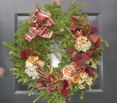 Christmas 2011 front door wreath, made at Woodcock Nature Center's fabulous annual Wreath Festival