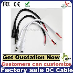 Power Male DC Plug to Open End Cable ID 2.1mm OD 5.5mm Connector Cable black&white