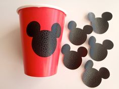 12 Vinyl Cup Stickers Mickey Mouse Theme Birthday Party READY to SHIP by FeistyFarmersWife on Etsy, $3.50