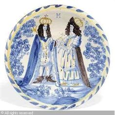 DELFT - DOUBLE PORTRAIT CHARGER OF WILLIAM III AND MARY II Defender Of The Faith, William And Mary, Queen Of England, Vintage Dishes, Delft, Folk Art, Old Things, Pottery, Tapestry
