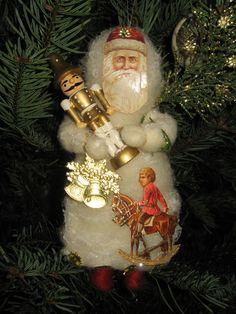 WEISS-GOLDENER WEIHNACHTSMANN GLANZBILDER DRESDNER PAPPE WATTEFIGUR CHRISTBAUM in Sammeln & Seltenes, Saisonales & Feste, Weihnachten & Neujahr   eBay!