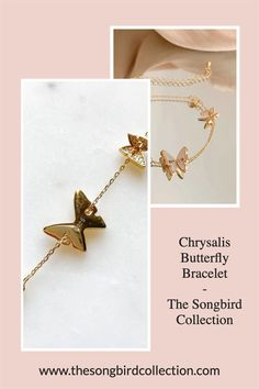 Our Chrysalis Butterfly Bracelet is a dainty chain bracelet for butterfly lovers! Gold Plated on 925 Silver Butterfly Bracelet, Layered Jewelry, Bangles, Bracelets, Layering, 925 Silver, Arrow Necklace, Women Jewelry, Plating