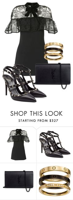 """""""Sem título #1699"""" by mariandradde ❤ liked on Polyvore featuring self-portrait, Valentino and Yves Saint Laurent"""