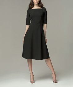 Another great find on #zulily! Black Square Neck Dress #zulilyfinds