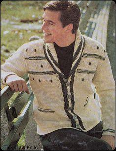 "No.213 Crochet Pattern PDF Vintage Men's Afghan Stitch Shawl Collar Cardigan - Retro Crochet Pattern - Instant Download - Sizes 36"" - 46"""