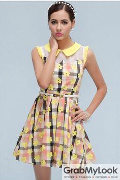 GrabMyLook Vintage Sleeveless Vest Yellow Florwers Checkers Peterpan Collar A-line Cocktail Skirt Dress Skirt