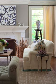 Beautiful English Arm sofa with braid at the skirt! Home Paint Color Ideas with Pictures