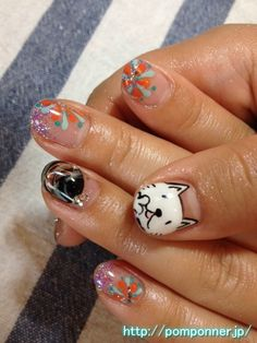 Nail Art of Cats and fireworks and water balloon    猫(ニコル)のアートと花火と水風船のネイル