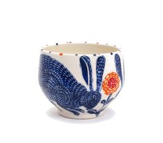 le post-it jaune | SUE TIRRELL Blue rabbit bowl | via