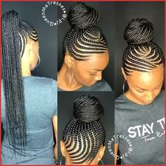 Discover a variety of Cornrows Hairstyles to the specific look you want. African Braiding Cornrows Hairstyle can be fun and playful, or chic and classy. Black Girl Braids, Braids For Black Hair, Girls Braids, Braided Ponytail Black Hair, Braided Buns, Messy Buns, African Braids Hairstyles, Girl Hairstyles, Gorgeous Hairstyles