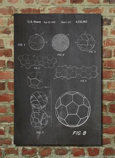 Soccer Ball Patent Wall Art Poster    This patent poster is printed on 90 lb. Cardstock paper. Choose between white, parchment, and gunmetal paper.