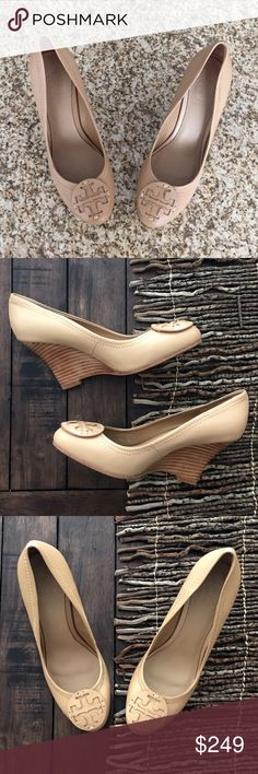 Tory Burch Reva nude logo leather wedge! NWOT! Pretty, please! These  gorgeous Reva wedges are going to be your staple for everything!
