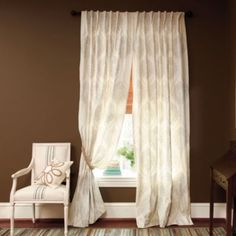 Rialto Embroidered Damask Panel   Beautiful neutral curtain panels that still provide high style when staging