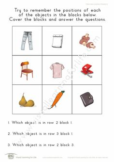 """In the """"Object Block Positions (9 Blocks)"""" worksheets, the student must remember the positions of each of the pictures in the blocks, in order to answer the questions when the pictures are no longer visible. Learning For Life, Visual Learning, 9 Block, Visual Memory, Worksheets, Positivity, Student, Memories, This Or That Questions"""