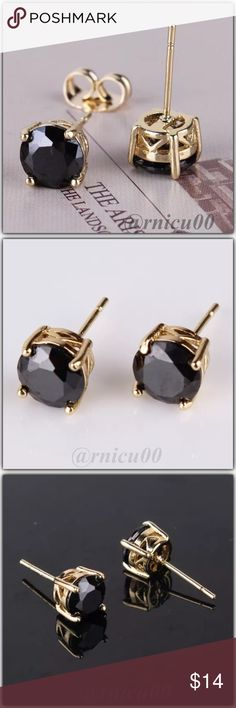 """Lucia Black Topaz Gold Stud Earrings! These Round Stud Earrings sell Fast! Perfect Size 7mm (0.3"""") Round Black Topaz Stones; Very Versatile, wear daily or Simple Classy! These make a Perfect gift! (rgbs5-2717-0249)  100% of my Profit is being donated to Multiple Sclerosis (MS) Association - Please see last pic for Manufacturers description - Will ship Securely in Jewelry Box  *ALL items Marked at Absolute LOWEST Price unless Bundled! *NO TRADES *Sales are Final-Please Read Descriptions…"""