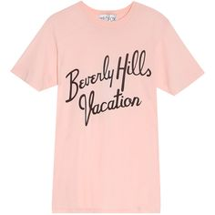 WILDFOX Beverly Hills T-Shirt (1.958.440 VND) ❤ liked on Polyvore featuring tops, t-shirts, shirts, tees, crew neck tee, crew shirt, crew-neck tee, peach shirt and crewneck t shirt