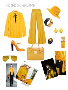 """""""Yellow Monochrome with a taste of '70s"""" by martina-b33 ❤ liked on Polyvore featuring Gucci, ADAM, Furla, Christian Louboutin, Brixton, Yves Saint Laurent and Ray-Ban"""