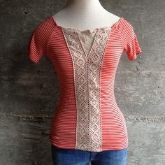 Free People top Lovely striped top with lace. Bundle for discount Free People Tops Blouses