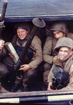 US Army Rangers awaited the invasion signal in a landing craft in an English port early June 1944. Note the bazooka and the M1 Garand rifles.