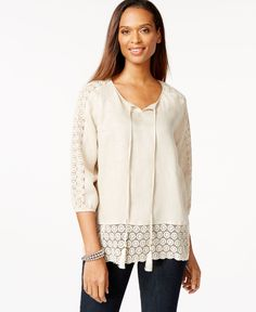 Charter Club Petite Crochet-Trim Linen Peasant Top, Only at Macy's