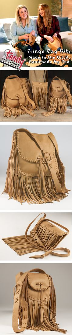 If you like a fashion throwback look, this beautiful line of DIY fringe bag kits is perfect for you!  The kit comes complete with pre-cut deertan cowhide leather, lace, optional amounts fringe, instructions on how to create your own personalized fringe handbag.
