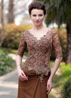 Trumpet/Mermaid V-neck Sweep Train Ruffle Beading Zipper Up Sleeves Sleeves No 2014 Brown General Plus Chiffon Lace Mother of the Bride Dress Mother Of The Bride Hats, Mother Of Groom Dresses, Model Dress Kebaya, Mob Dresses, Fashion Dresses, Kebaya Lace, Dress Brokat, Ruffle Beading, Looks Plus Size