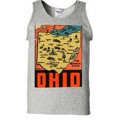 Vintage State Sticker Ohio Asst Colors Tank Top - California Republic Clothes