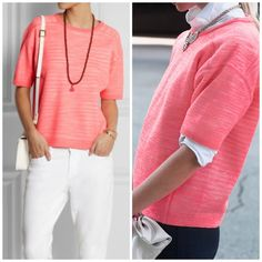 J. Crew Collection bonded merino-linen shirt Sheer, bright Italian linen bonded to white merino wool creates an almost neon pastel effect. It's a special technique that gives this sweater a little more body and a lot of appeal. Merino wool/linen in a 14-gauge knit.  On-seam pockets. Rib trim at hem. Dry clean. Select stores. Relaxed fit. Hits at hip.  Excellent condition.  Beautiful pop of bright pink.  I find this runs a little on the larger side J. Crew Tops