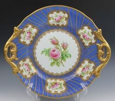 English Staffordshire Opaque Porcelain Blue Gold Hand Painted Meigh Platter | eBay