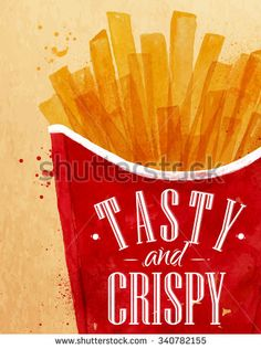 Poster french fries lettering Tasty and crispy drawing with color paint on kraft background.