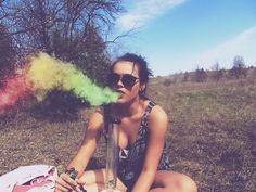 tumblr hippie photography | bong, girl, high, hippie, rainbow - image #403096 on Favim.com