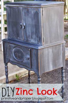 Primitive & Proper: Zinc Look Cabinet with Graphite Chalk Paint and Artisan Enhancements Pearl Plaster
