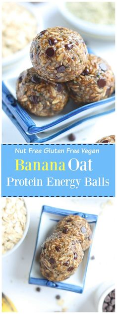 Recipes Snacks Protein Nut Free Banana Oat Protein Energy Balls (gluten free dairy free vegan) Recipe- No bake healthy snack banana oat balls packed with protein, fiber and sweetened with banana. Nut Free Snacks, Dairy Free Treats, Dairy Free Recipes, Flour Recipes, Snacks List, Dairy Free Protein Bars, Healthy Protein Snacks, Healthy Recipes, Healthy Meals