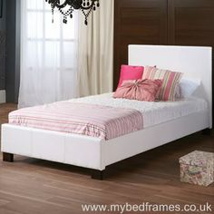 The Clifton white faux leather bed frame will add a contemporary look to any bedroom. Its clean lines with it's simple headboard means this will suit most rooms.  The faux leather is very durable and is easily cleaned and is available in 3 colour ways consisting of white, brown or black.