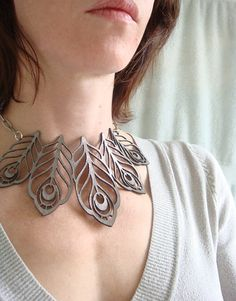 Your place to buy and sell all things handmade Peacock Jewelry, Tassel Jewelry, Etsy Jewelry, Leather Necklace, Leather Jewelry, Leather Craft, Laser Cut Jewelry, Laser Cut Leather, Collar Designs