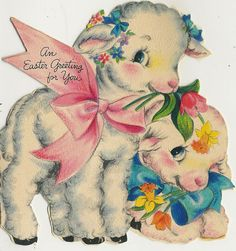 Vintage Easter card with lambs...sweet!