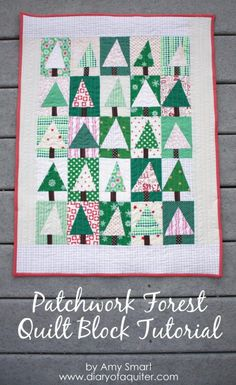 Patchwork Tree Quilt Block Tutorial - Diary of a Quilter Christmas Tree Quilt Block, Christmas Quilt Patterns, Christmas Quilting, Patchwork Quilt, Mini Quilts, Baby Quilts, Christmas Sewing Projects, Modern Christmas, Christmas 2015