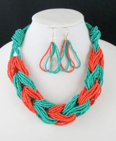 Cowgirl Gypsy Western Turquoise Coral Twisted Beads  Braided Summer Necklace set  our prices are WAY BELOW RETAIL! all JEWELRY SHIPS FREE! www.baharanchwesternwear.com baha ranch western wear ebay seller id soloedition
