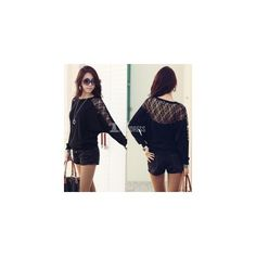 Women's Batwing Sleeve Tops Hollow Out Lace Spliced Loose T-Shirt... (31 HKD) via Polyvore