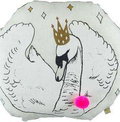 Gold Swan Pom Pom Cushion