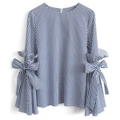 Chicwish Stripes Charisma Top with Bell Sleeves (2.565 RUB) ❤ liked on Polyvore featuring tops, blouses, shirts, blue, ruffled shirts blouses, blue ruffle shirt, ruffle shirt, ruffle blouse and blue striped blouse