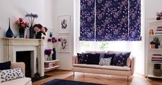 Charlotte-Beevor-Indigo-Garden-Sorana-Indigo-Roman-blind-living-room - Browse the fabrics in the Indigo Garden Collection. Find out more about the designs within this contemporary collection of Roman blinds