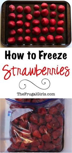How to Freeze Strawberries! {this simple little Strawberry trick works like a charm!} | Tips from TheFrugalGirls.com