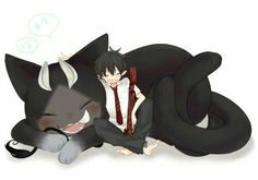 Okumura Rin, Kuro, smiling, cute, text; Blue Exorcist