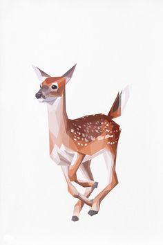 Geometric illustration Bambi Baby Deer Animal by TinyKiwiCreations