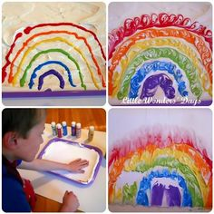 Make shaving cream painted rainbows