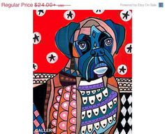 50% SALE  Boxer Dog Art Poster Print of by HeatherGallerArt
